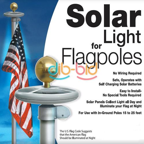 20 led solar powered garden decor light top flag pole. Black Bedroom Furniture Sets. Home Design Ideas