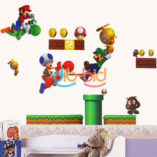 New super mario bros pvc removable wall sticker home decor for kids room ebay - Mario wall clings ...