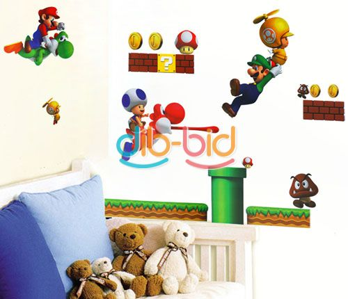 new super mario bros pvc removable wall sticker home decor
