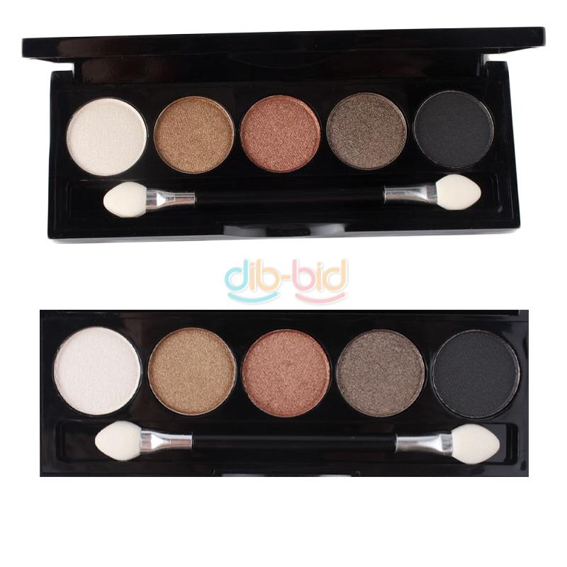5 Color Women Makeup Party Wedding Warm Glitter Eyeshadow Palette Set with Brush
