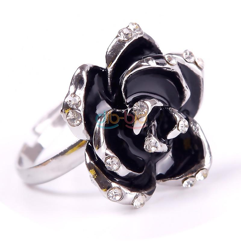 Hot Gold Silver Plated Black Rose Flower Shape Rhinestone Cocktail Finger Ring
