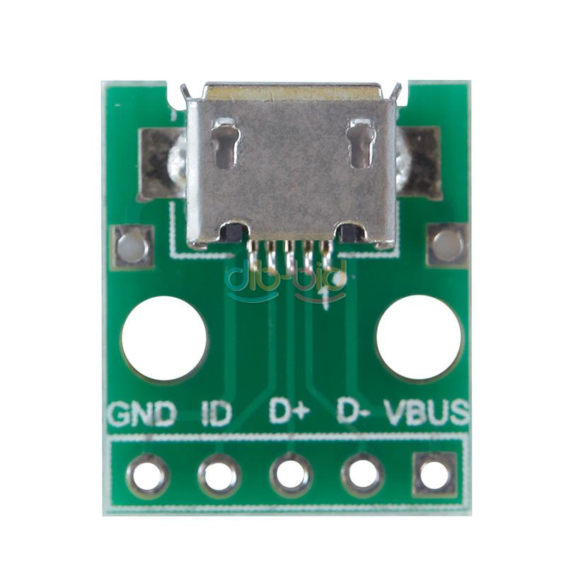 micro usb to dip adapter 5pin female connector pcb converter